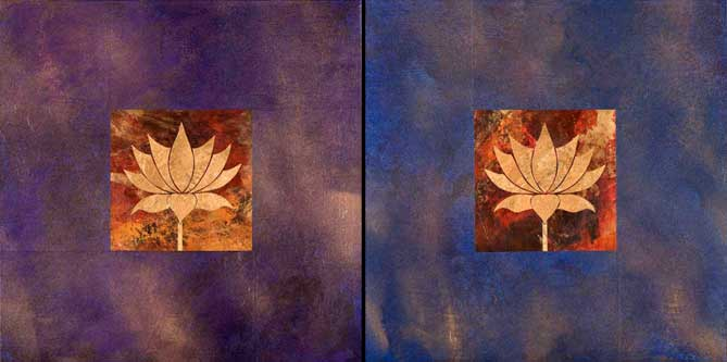 Lotus on Purple & Blue
